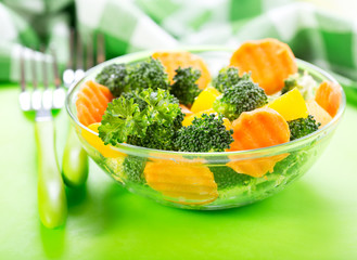 salad with broccoli, carrot, pumpkin and parsley