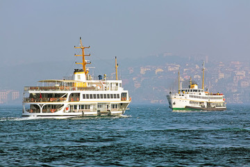 Two passenger ferryboats in the Bosphorus, Istanbul, Turkey