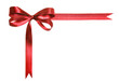 Red fabric ribbon and bow isolated on a white background