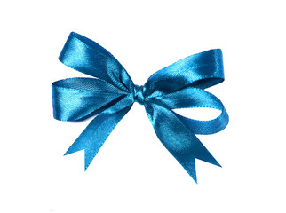Blue (azure) fabric ribbon and bow. isolated