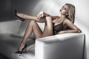 Portrait of sensual woman wearing sexy lingerie