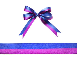 Blue-purple multicolor fabric ribbon and bow isolated