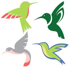 Stylized hummingbirds vector set