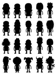 Набор векторных силуэт символ аватары иконок