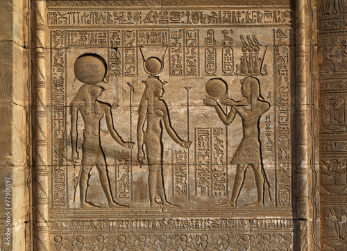 Plexiglas Egypte Hieroglyphic carvings in ancient egyptian temple
