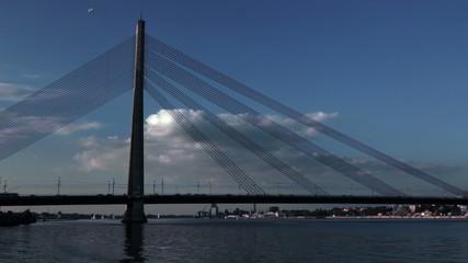 Traffic over the bridge in the city Riga