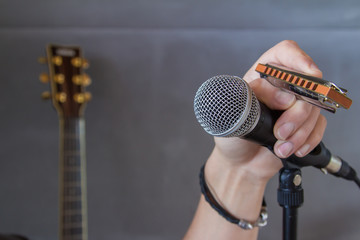 Hand holding a mouth organ and microphone