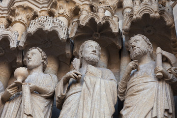 Detail of the facade of the cathedral in Amiens