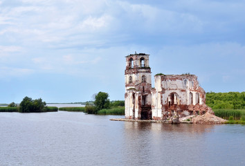 destroyed church on the lake in Russia