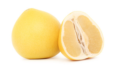 One whole and a half ripe pomelo (isolated)