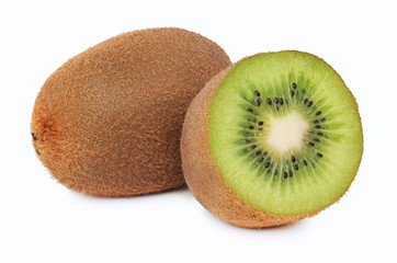 One whole and a half ripe kiwi (isolated)