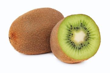 One whole and a half ripe kiwi (isolated)