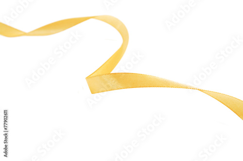 Leinwandbild Motiv Blue-yellow fabric ribbon and bow. Isolated