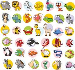 Набор векторных милый мультфильм животных