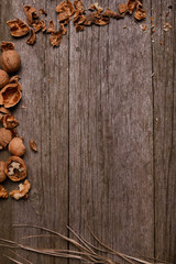 Walnuts on rustic wooden background copy space for text