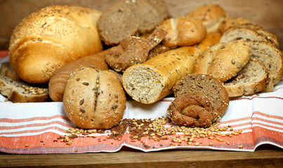 Various pastries and breads
