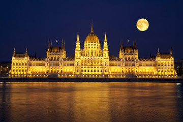 The Hungarian Parliament in the full moon night