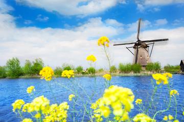 Old windmill in Kinderdijk-Elshout Netherlands
