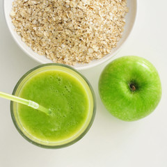 apple, smoothie and oatmeal cereal