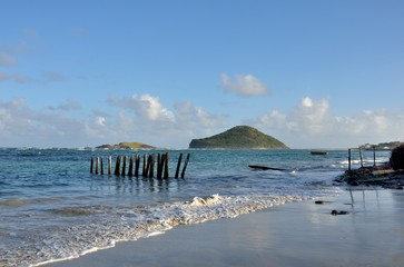 caribbean island seen from shore