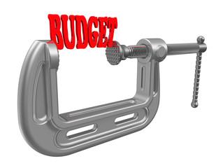 """Слово """"бюджет (budget)"""" сжатое струбциной"""