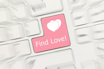 White conceptual keyboard - Find Love (pink key). Zoom effect