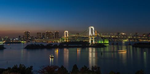 Panorama of Rainbow bridge and Tokyo bay, Japan