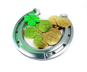 St. Patrick's day horseshoe Leprechaun coins