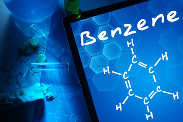 Tablet with the chemical formula of benzene.
