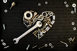 heart of the tools and screw nuts - 77906635