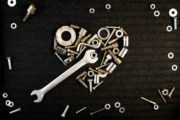 heart of the tools and screw nuts