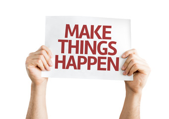 Make Things Happen card isolated on white background