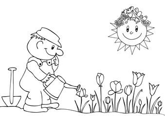 Gardener watering flowers in garden centre.