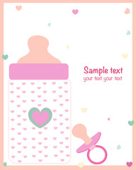Baby girl bottle and soother baby announcement card vector