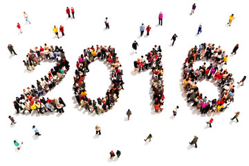 Large group of people in the shape of 2016 celebrating