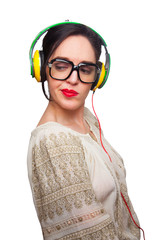 Young Woman wearing Black Large Framed Glasses Listening to Head