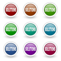 solutions web icons vector set