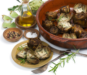 Artichoke hearts on big dish
