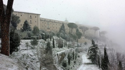 Montecassino abbey with snow