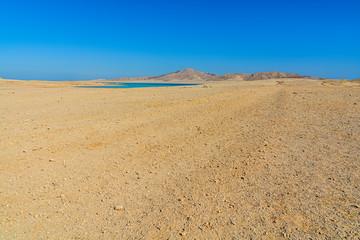 Desert island Tiran Egypt in summer hot