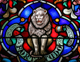 Lion, Symbol of Strength - Stained Glass in Mechelen Cathedral