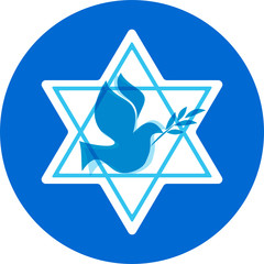 independence day of Israel, david stars and peace white dove