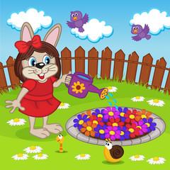 rabbit girl watering flowers in flowerbed - eps