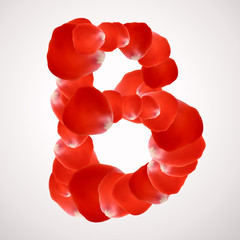 Valentines Day rose petal alphabet vector. Letter B