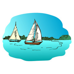 Hand drawn yacht on blurred background.
