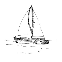 Hand drawn yacht. Vector illustration.