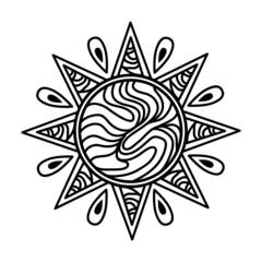 Zentangle Sun Icon