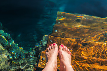 feet in water on a hot summer day, Egypt, red sea.