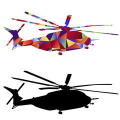 Polygon Military Helicopter Icon