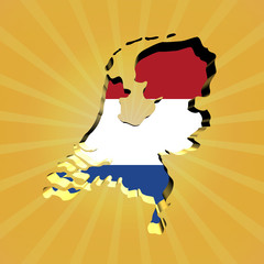 Netherlands sunburst map with flag illustration